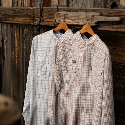 Geo Plaid Tech Button Down  by Aftco