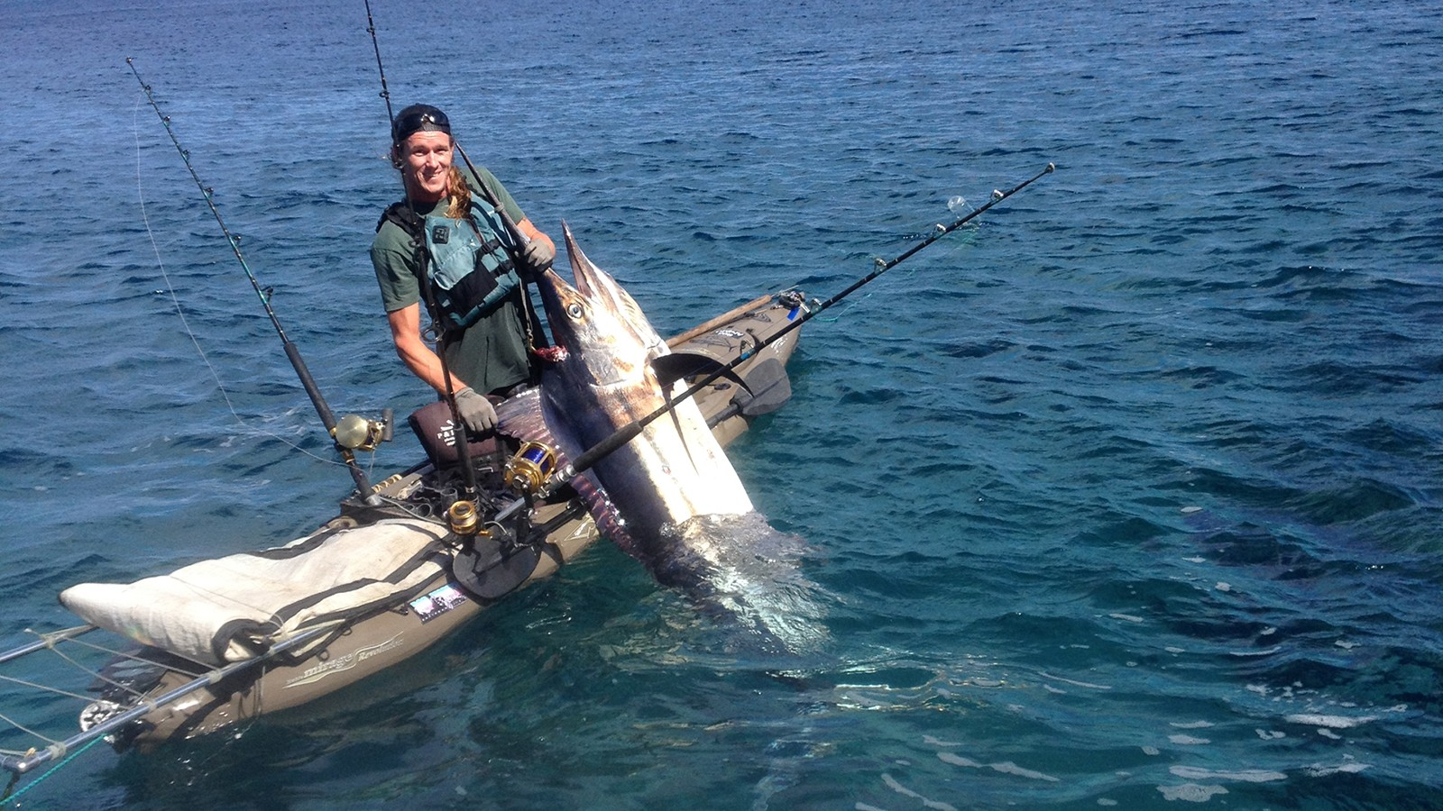 Devin Hallingstad and his 212-pound marlin
