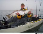 One of the largest weakfish you'll ever see taken from a Hobie!